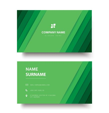 Modern green lines double sided business card template