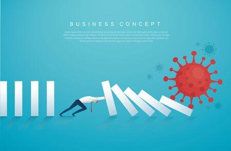 businessman stopping the domino effect from Coronavirus (COVID-19) vector illustration,
