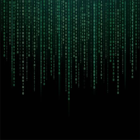Abstract Technology Background. binary data and streaming binary code background. vector illustration