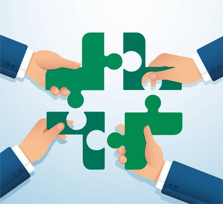 Teamwork concept. People putting the puzzle madical icon together vector illustration EPS10
