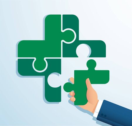 Teamwork concept. People putting the puzzle madical icon together vector illustration