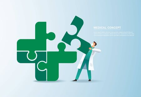 Teamwork concept. doctor putting the puzzle medical icon together vector illustration Иллюстрация