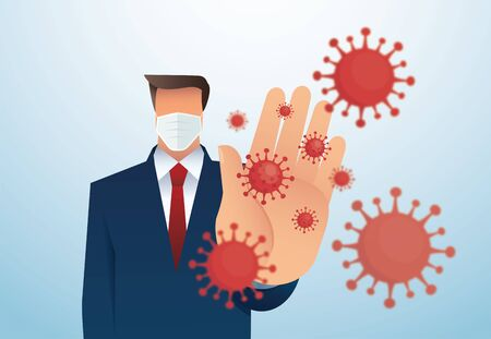 Stop COVID-19 coronavirus outbreak vector illustration Иллюстрация