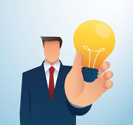 business man holding lightblub. creative concept. vector illustration EPS10