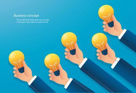 hand holding light blub. creative concept. vector illustration EPS10