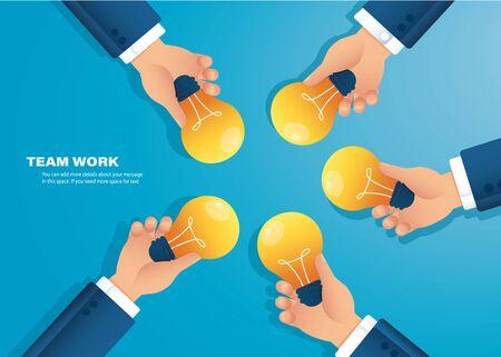 hand holding light blub. creative concept. vector illustration
