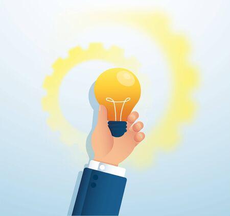 hand holding light bulb. creative concept. vector illustration Иллюстрация