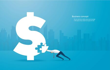business man putting the puzzle Dollar icon together vector illustration EPS10 Иллюстрация