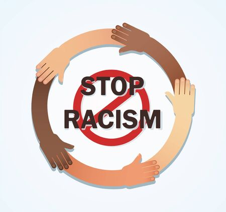 Many hands of different races together in a circle. Stop racism Иллюстрация