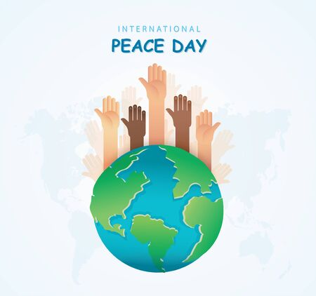 Many hands of different races together  around the earth. Stop racism. Vector Illustration