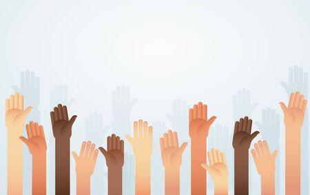 People raised hands different skin color vector. Voting, democracy or volunteering concept