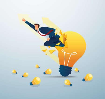 Businessman breakthrough light bulb to successful vector illustration