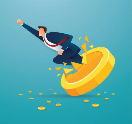 Businessman breakthrough gold coin to successful vector illustration