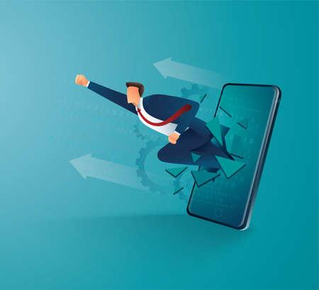 Businessman breakthrough mobile screen to successful vector illustration