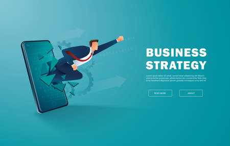 Businessman breakthrough mobile screen to successful vector illustration