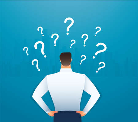 back view of businessman looking at  question marks vector illustration Çizim