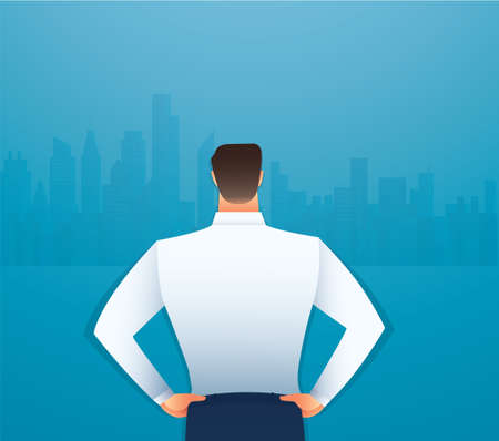 Back view of standing man in a formal clothes vector illustration