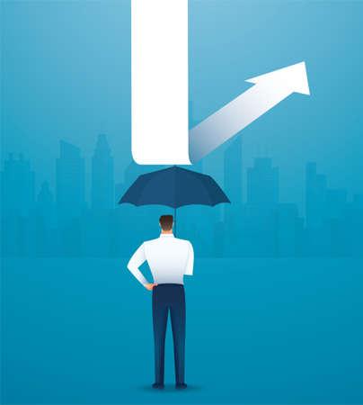 businessman use umbrella to protecting arrow down vector illustration