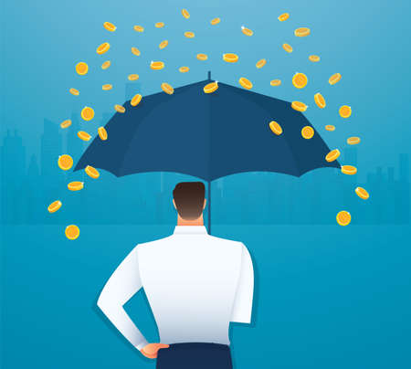 Business man holding an umbrella, money falling from the sky. concept of success. vector illustration