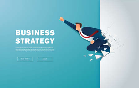 Businessman breakthrough the wall to successful vector illustration Çizim