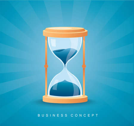 Hourglass as time passing concept for business deadline, running out of time vector illustration Çizim