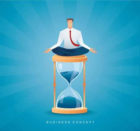 businessman sitting in lotus pose meditation on hourglass vector illustration Çizim