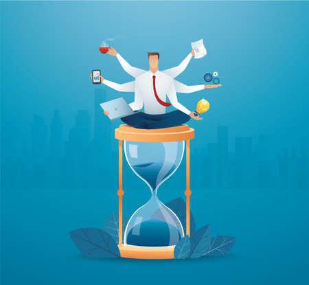 businessmen multitasking on hourglass. concept of working hard vector illustration