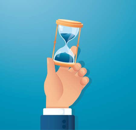 hand holding hourglass vector illustration Çizim