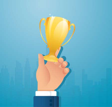 hand holding Gold Trophy Cup. Winner trophy award vector illustration