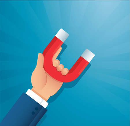 hand holding a magnet. concept of attracting investments vector illustration