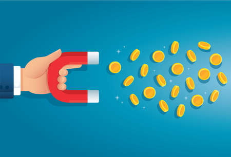 hand holding magnet. attracting money concept. vector illustration