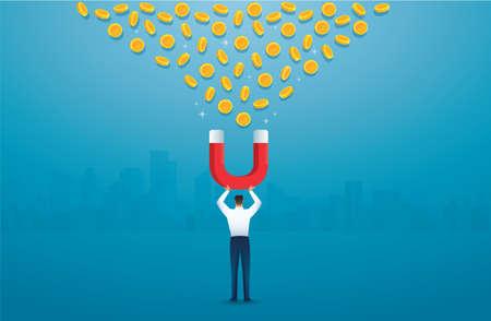 man holding magnet. attracting money concept. vector illustration