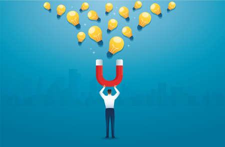 man holding magnet attracting light bulb creative concept. vector illustration Çizim