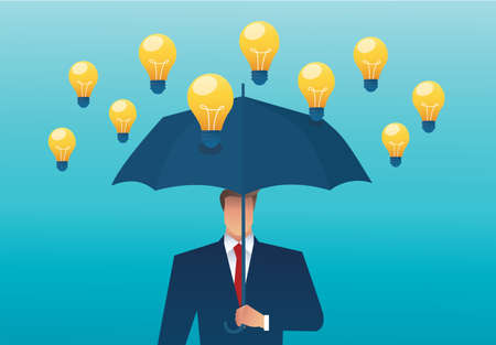 man holding an umbrella and light bulb falling from the sky. creative concept. vector illustration Çizim