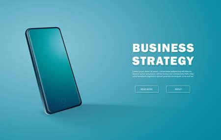 Modern smartphone mockup, isometric position trendy blue background vector illustration Çizim