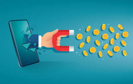 man holding magnet breakthrough mobile screen to attracting money vector illustration