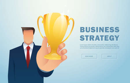 Businessman holding gold trophy. Concept of win and success. vector illustration