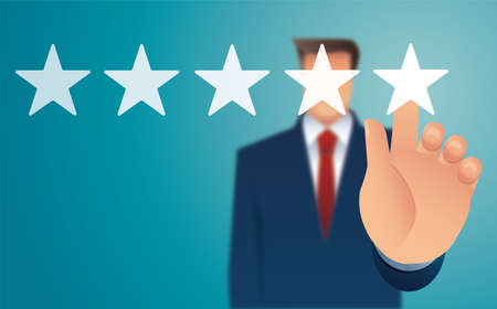 hand giving five star rating. feedback concept vector illustration Stock Illustratie