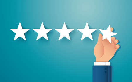 hand giving five star rating. feedback concept vector illustration