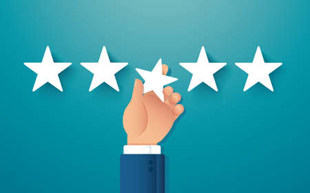 hand giving five star rating. feedback concept vector illustration Çizim