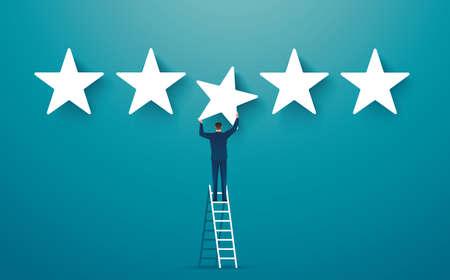 man on ledder giving five star rating. feedback concept vector illustration Çizim