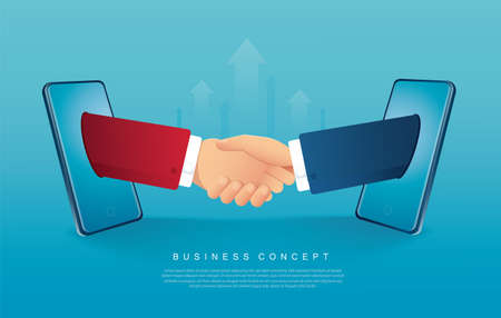 Businessmen handshaking coming out from smartphones vector illustration 矢量图像