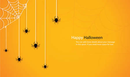 Halloween with spider web yellow background vector illustration eps10 矢量图像