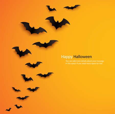 halloween concept bats flying over orange background vector illustration 矢量图像