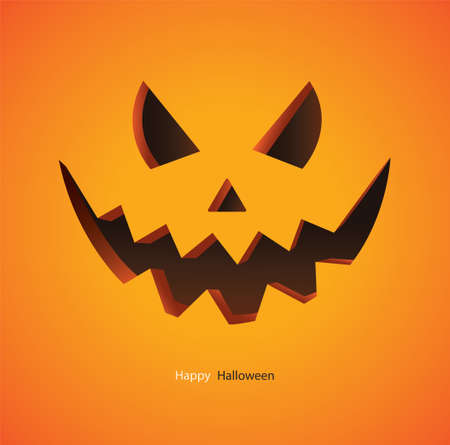 Scary pumpkin on yellow background vector illustration