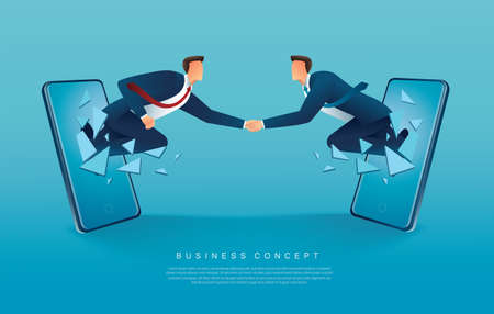 Businessmen handshaking coming out from smartphones vector illustration Stock fotó - 155864598