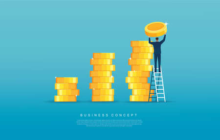man putting coin on pile of coins  Business and finance concept. vector illustration