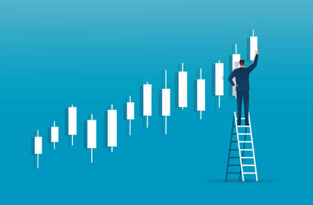 man on ladder with candlestick chart background, concept of stock market