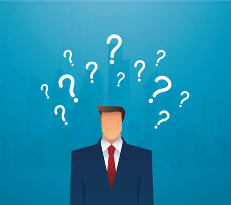 businessman and question marks vector illustration