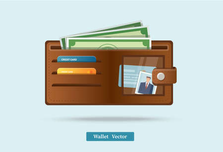 Brown wallet full of green dollars vector illlustration Illusztráció